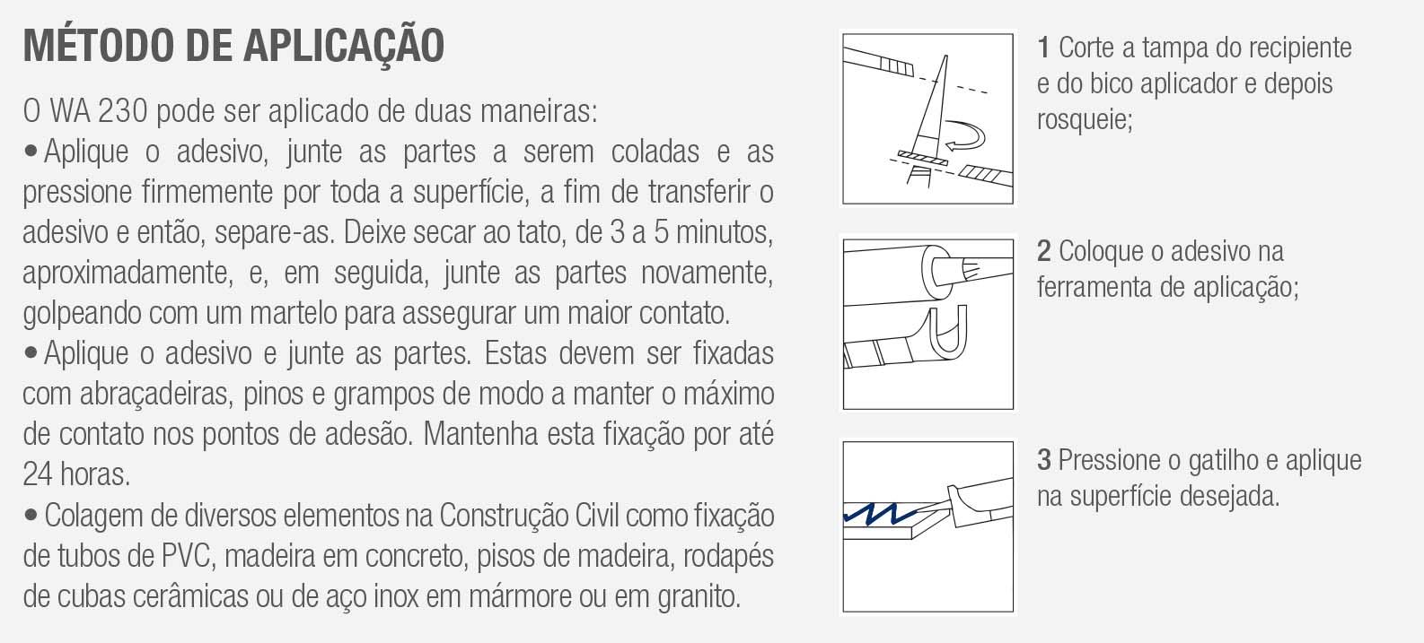 adesivo para materiais de construção wa 230